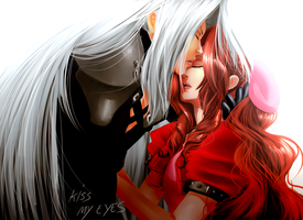 Kiss My Eyes - Sephiroth and Aerith by uekiOdiny