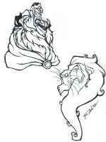 Beast and Scar tattoo designs by depplosion