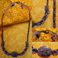 Plum Stone/Macrame Necklace by BellyLaughBeads