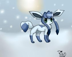 Glaceon in the snow by chibi-puppy12