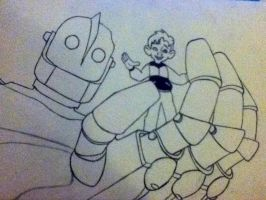 The Iron Giant Lineart by Racheii
