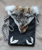Painted Coyote Pouch by lupagreenwolf