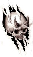 horned skull design by drksoul666