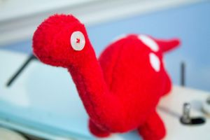 Red dino with White Spots by BeeZee-Art