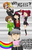Persona 4 + the Jealous Cats + Nyan Cat by Chocoreaper
