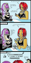 Mass Effect 3: Drinks with Tali by bookwormcat