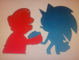 Mario and Sonic by TheJentheHedgehog