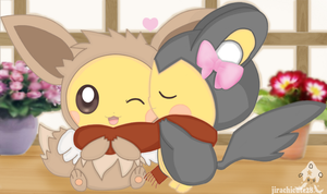 emochu and eevee chu by jirachicute28