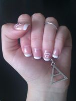 French manicure with 30 Seconds to Mars triad by mmkrys