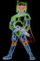 boba fett color neon by AlanSchell