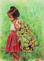 little girl with 'ketupat' by IborArt