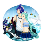 Swimming in the ocean waters by MizumiHisui