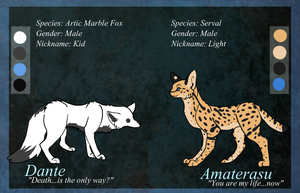 Dante and Amaterasu Ref Sheet by Aevaln