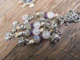 Silver and Shell Turtle Hair Dangle Closeup 2 by Windthin