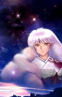 Sesshomaru in the Sky at Dawn by MoonOfYomi