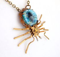Creepy Gothic Spider Necklace by byrdldy