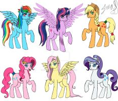 The Mane Six re-design of Book 4. by MaggiesHeartLove