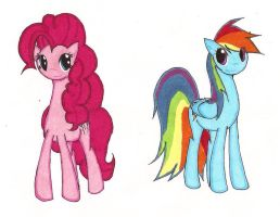Pinkie Pie and Rainbow Dash by 915retsamdrows