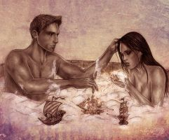 Dragon Age_Alistair and Liana_bubble bath by Agregor