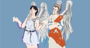 Good Omens: It's too heavenly here WIP by Knupfel