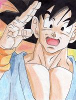 Goku smiling by Stephr0x0rs