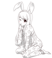 Lineart - Bunny Sayaka-chan (No color) by Jerikuto