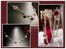 Red Elegance Necklace by karemelancholia