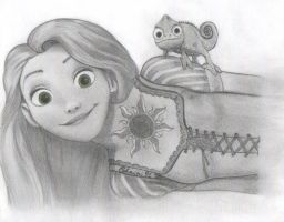 Rapunzel and Pascal by ReBri