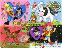 Harvest Moon 10th Anniversary by kawaii-doremi-chan