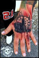 Tattoogun and clock Handtattoo by CAMOSartTATTOO
