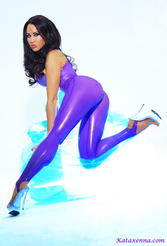 Kataxenna Kova Purple Latex Catsuit by Kataxenna-Kova