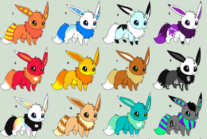 Eevee Adoptables - 25 Points Each by Sliced-Penguin