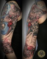 portrait of parents roses bg by 2Face-Tattoo