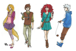 Tangled, HTTYD, Brave, ROTG modern clothing by LilyScribbles