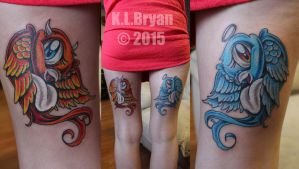 Love bird tattoos on back of legs by danktat