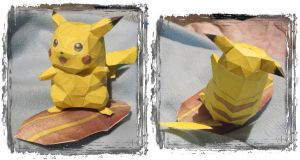 Surf Pikachu Papercraft by Byakko92