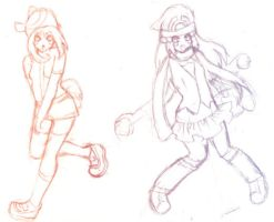W.I.P. Sketch: Pokemon Girls by Naaya-Neko