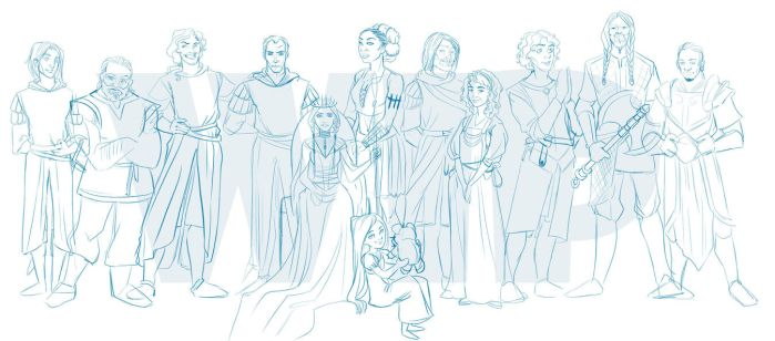 Elenium characters - sketch by coda-leia