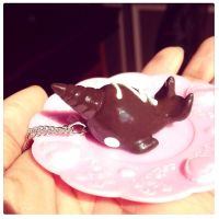 Chocolate candy narwhal necklace by SprinkleChick