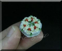 Miniature Blue Cream Cake by ToothFairyMiniatures