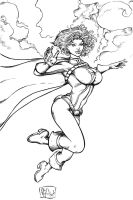 Power Girl Inks 052610 by ChrisMcJunkin