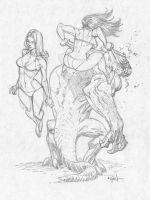 Chicks and monster sketch by RyanOttley