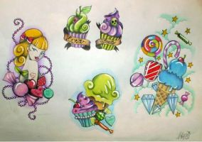 Tattoo Flash #1 sweets by MissAcidDoll