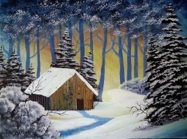 Wintry Cabin Tranquility by twinket