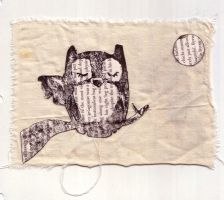 Book Owl print and collage by bolt-for-home