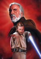 Dooku and Obi-Wan by roberthendrickson
