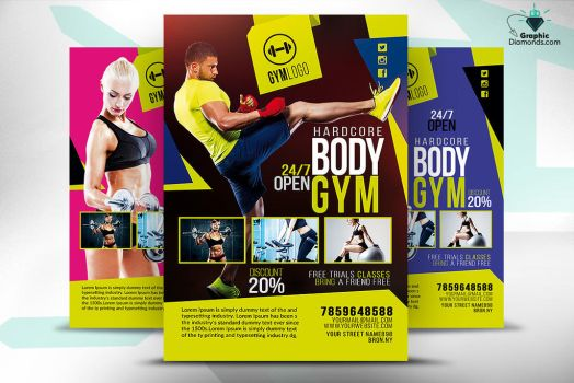 Gym Fitness Flyer PSD by GraphicDiamonds
