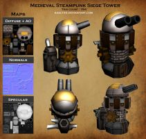 Siege Tower Medieval Steampunk by kaely33
