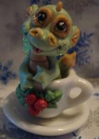 polymer tea cup dragon holly by crazylittlecritters