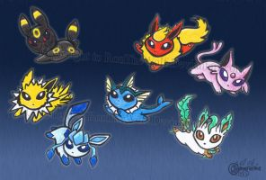 Pokerain of evee evolutions by RonTheWolf